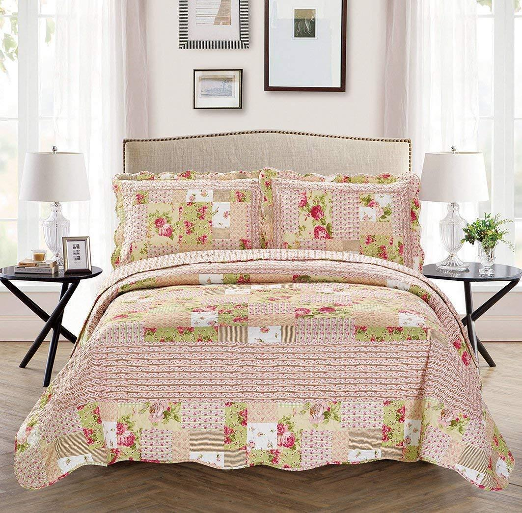Fancy Linen 2pc Twin/Twin Extra Long Over Size Bedspread Floral Pink Beige Green White New # Catchf