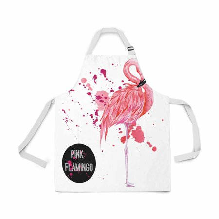 HATIART Adjustable Bib Apron for Women Men Girls Chef with Pockets Pink Flamingo Splashes Colorful Paint Drop Novelty Kitchen Apron for Cooking Baking Gardening Pet Grooming Cleaning - image 1 de 1