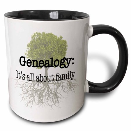 3dRose Genealogy it�s all about family - Two Tone Black Mug, 11-ounce