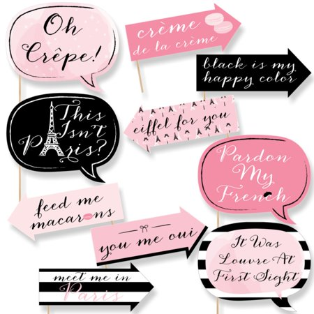 Funny Paris, Ooh La La - Paris Themed Photo Booth Props Kit - 10 Piece](Themed Photo Booths)