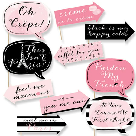 Funny Paris, Ooh La La - Paris Themed Photo Booth Props Kit - 10 Piece - Paris Themed Party Decor