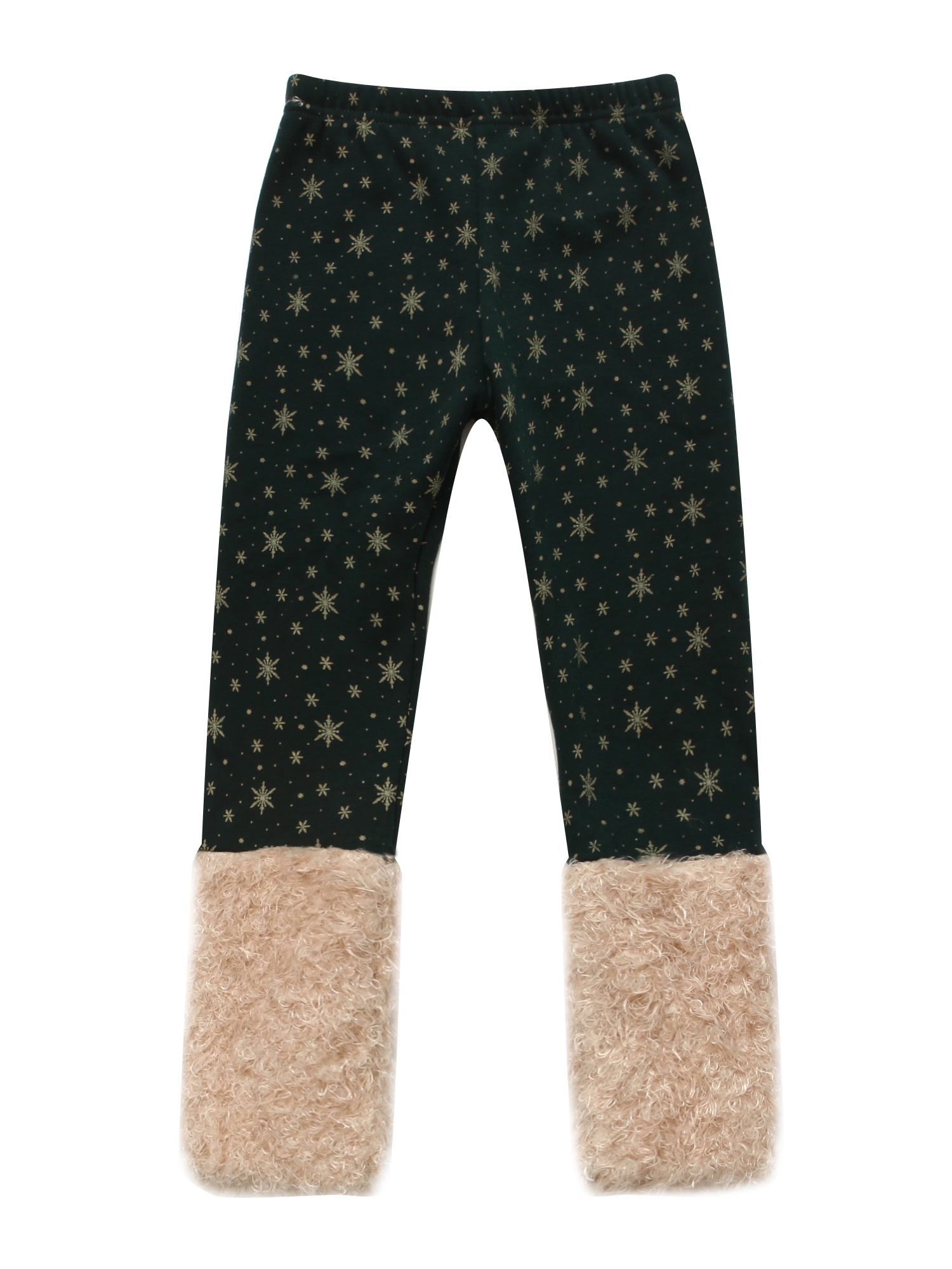 Richie House Girls' Pants with Snowflakes and Fluffy Cuffs RH0886