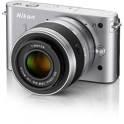 "Nikon 1 J1 Silver 10.1MP Digital Camera w/ 3x Optical Zoom, 10-30mm VR Lens, 3"" LCD, HD Movie Recording"
