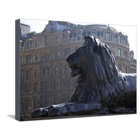 Bronze Lion Statue by Sir Edwin Landseer, Trafalgar Square, London, England, United Kingdom, Europe Stretched Canvas Print Wall Art By Peter Barritt