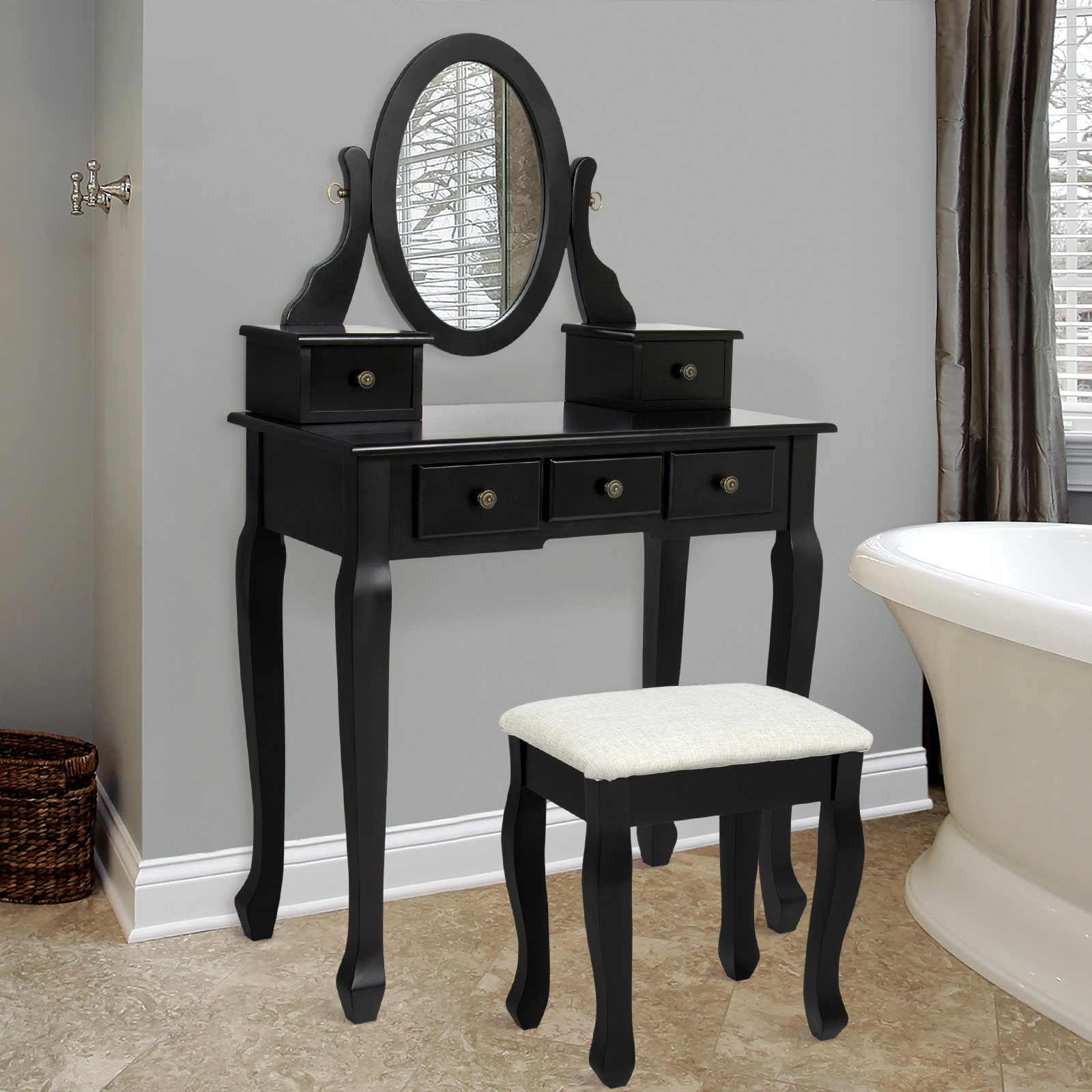 bathroom vanity table jewelry makeup desk bench drawer black hair