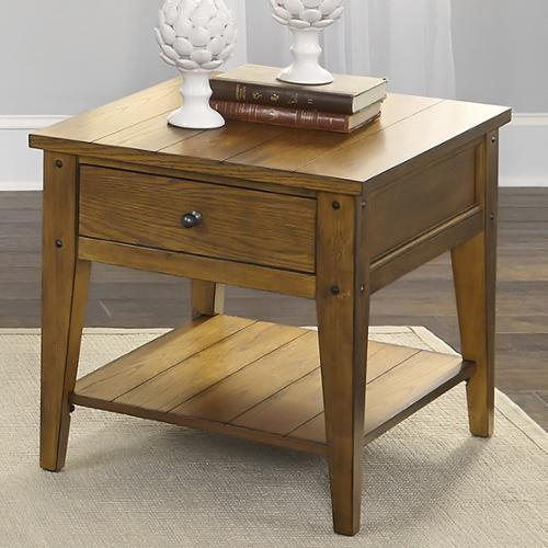 Liberty Lake House Transitional Oak End Table