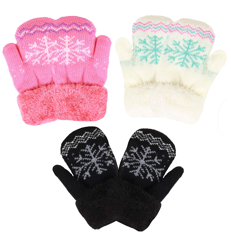 6 Pairs Baby Mittens Winter Toddler Mittens Infant Warm Fleece Gloves