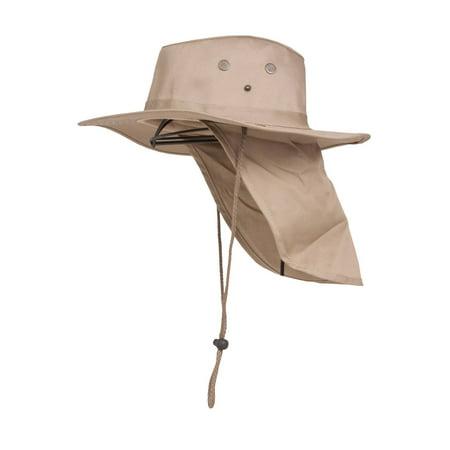 fb248ca9d87 Top Headwear Safari Explorer Bucket Hat With Flap Neck Cover - Beige ...