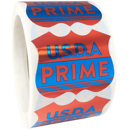 USDA PRIME Grocery Store Food Labels 2 x 2 Inch 500 Total Adhesive