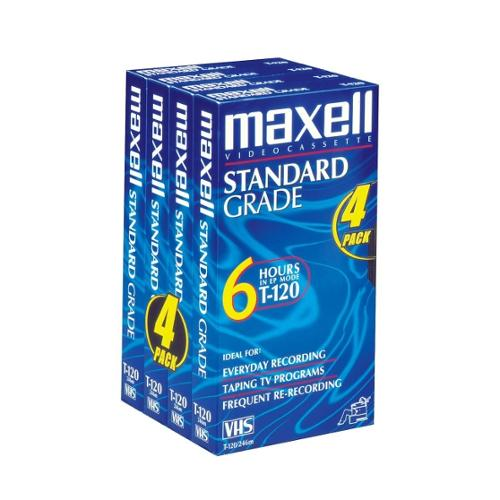 Maxell Standard VHS Videocassette - VHS - 2 Hour - SP, 4 Hour - LP, 6 Hour - EP