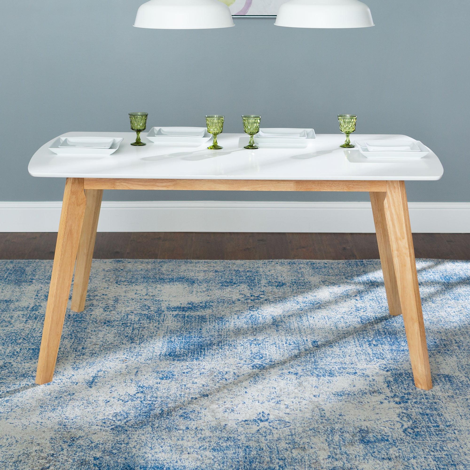 "Walker Edison 60"" Mid-Century Modern Wood Dining Table - White"