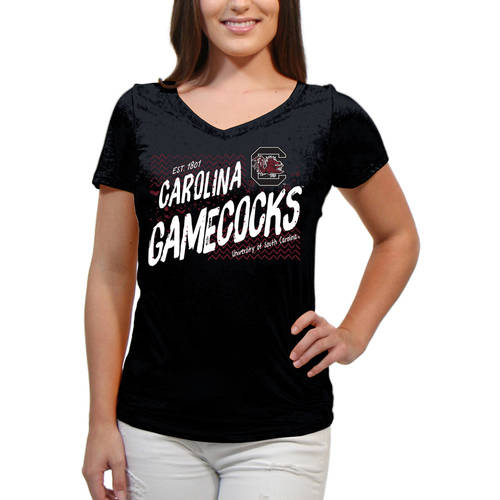 South Carolina Gamecocks Scatter Doodle Women'S/Juniors Team Short Sleeve V Neck Tee Shirt