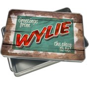Christmas Cookie Tin Greetings from Wylie, Vintage Postcard for Gift Giving Empty Candy Snack Pastry Treat Swap Box Cerebrate a Holiday