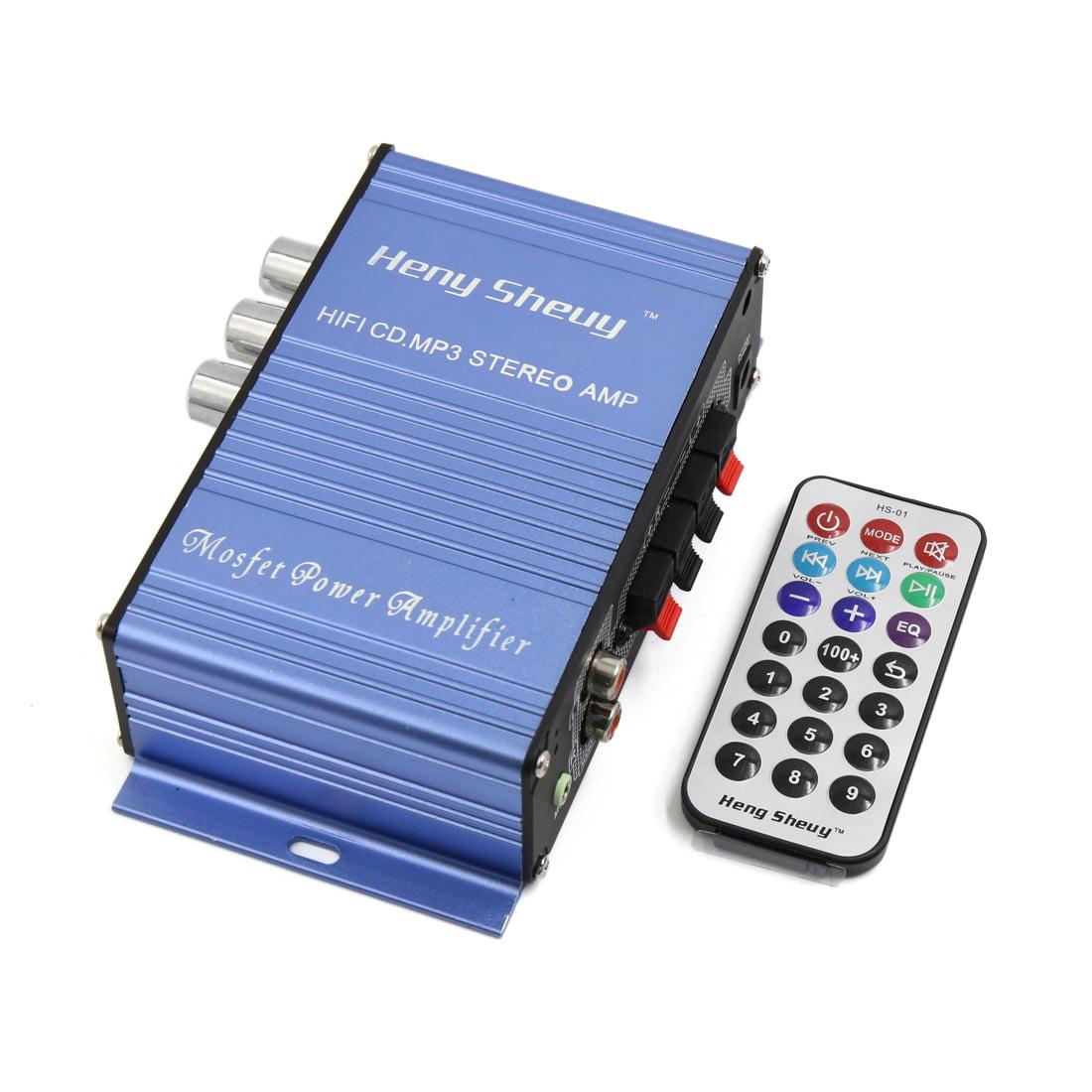 DC 12V FM Radio USB Power Amplifier Digital Audio Player Blue for Car Motorcycle