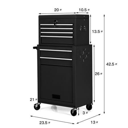 Gymax 2 In 1 Rolling Cabinet Storage Chest Box Garage