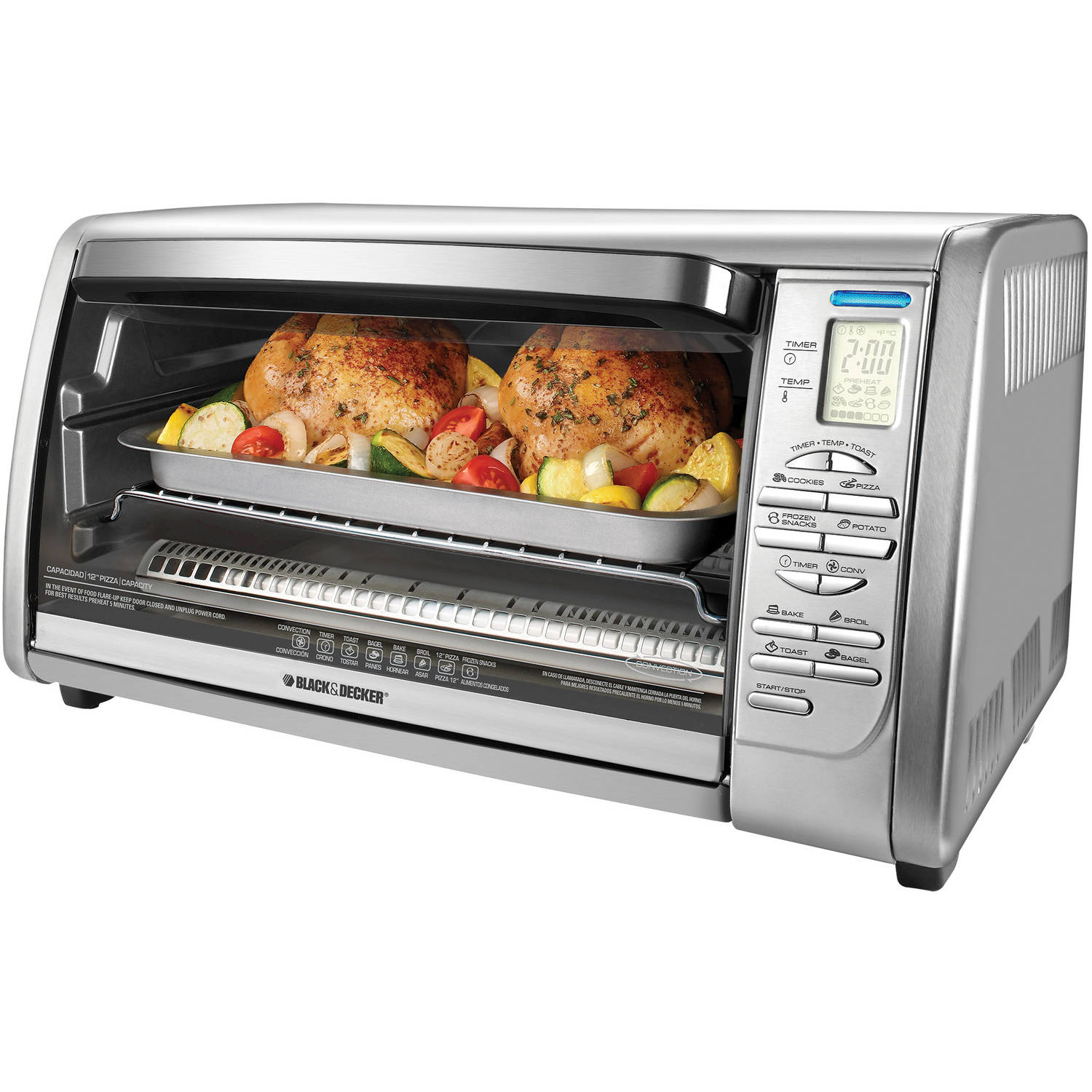 BLACK+DECKER 6-Slice Digital Convection Toaster Oven, Stainless Steel, CTO6335S