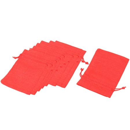 Cotton Linen Jewelry Ring Bracelet Storage Holder Drawstring Bag Red 10pcs