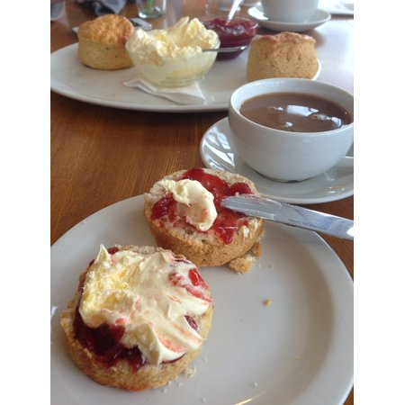English Clotted Cream (Canvas Print Cream Breakfast Clotted Cream Tea British Tea Jam Stretched Canvas 10 x 14)