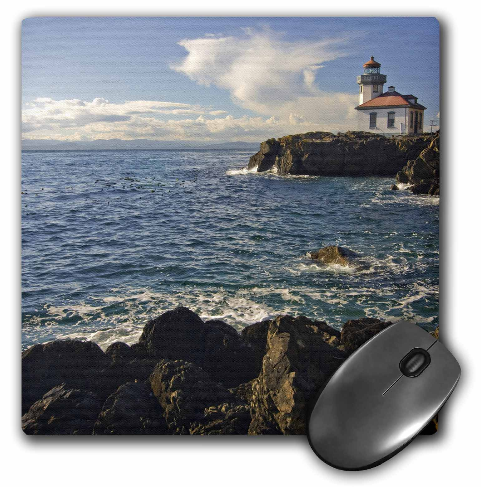 3dRose Washington, San Juans, Lime Kiln Point Lighthouse - US48 DSV0236 - David Svilar, Mouse Pad, 8 by 8 inches