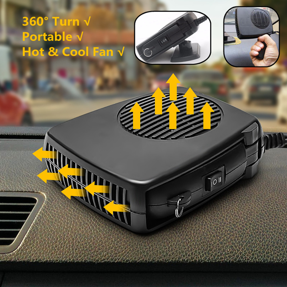 1Pcs 150W 24V Portable Auto Heater Fan Car Heating Cooling Electric Travel Defroster Demister with Swing-out Handle