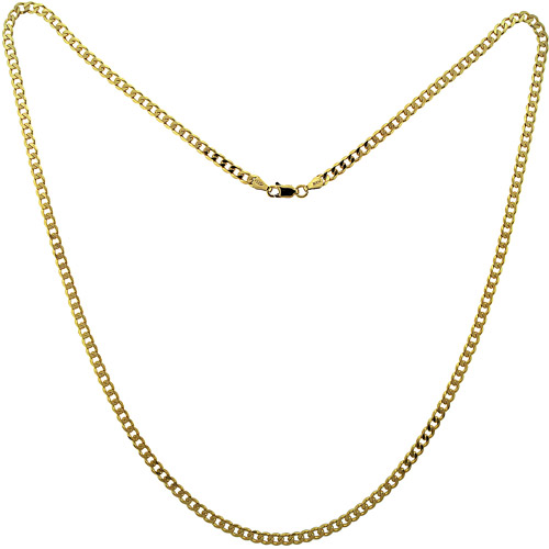 18kt Gold over Sterling Silver Grometta 4MM Chain, 24""