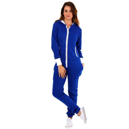 7800ef2d89d Skylinewears - SkylineWears Women s Ladies Onesie Hoodie Jumpsuit Playsuit  Royal Blue XL - Walmart.com