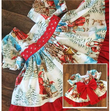 Christmas Xmas Bowknot Flared Santa Swing Party Dress Gift ( Toddler Girls ) ()