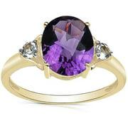 Malaika 2.66 Carat Genuine Amethyst and White Topaz 10K Yellow Gold Ring Size- 7,Purple
