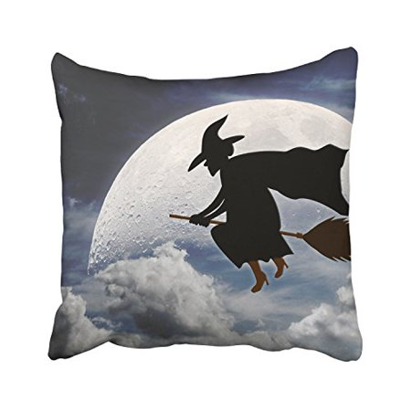 WinHome Halloween Witch With Broom In The Sky Big Moon And Cloud Decorative Pillowcases With Hidden Zipper Decor Cushion Covers Two Sides 20x20 inches