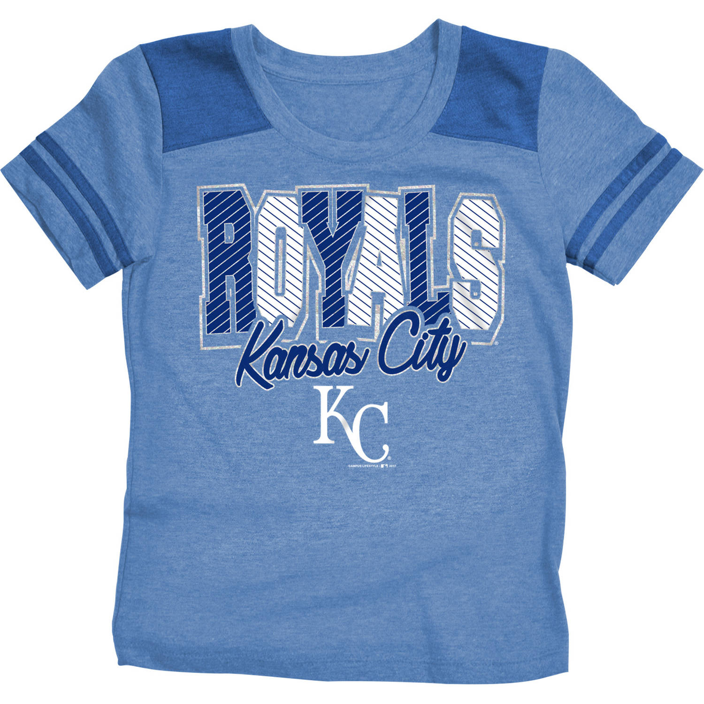 MLB Kansas City Royals Girls Short Sleeve Team Color Graphic Tee