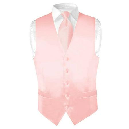 (Biagio Men's SILK Dress Vest & NeckTie Solid LIGHT PINK Color Neck Tie Set)
