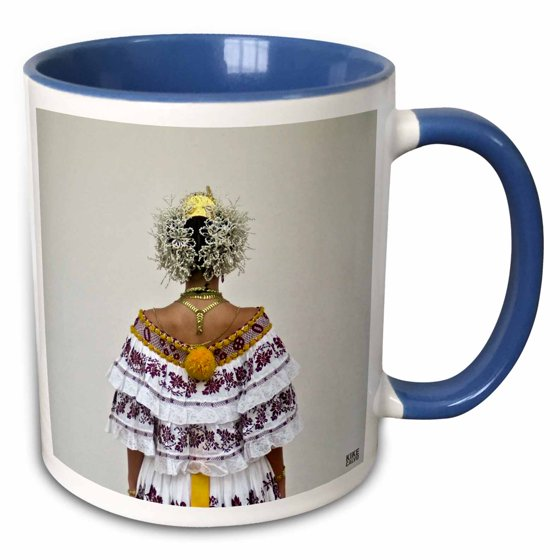 997b0d6ec 3dRose Panamanian woman in her twenties dressed up with the traditional  Pollera - Two Tone Blue Mug, 11-ounce