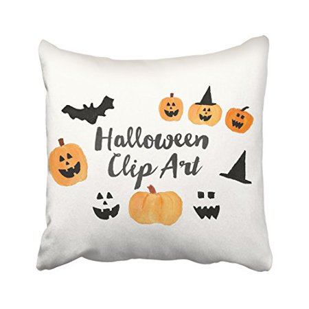 WinHome Halloween Cute Pumpkin And Bats And Witch Hat Watercolor Painting Decorative Pillow Cover With Hidden Zipper Decor Cushion Two Sides 18x18 inches](Halloween Witch Face Painting Ideas)
