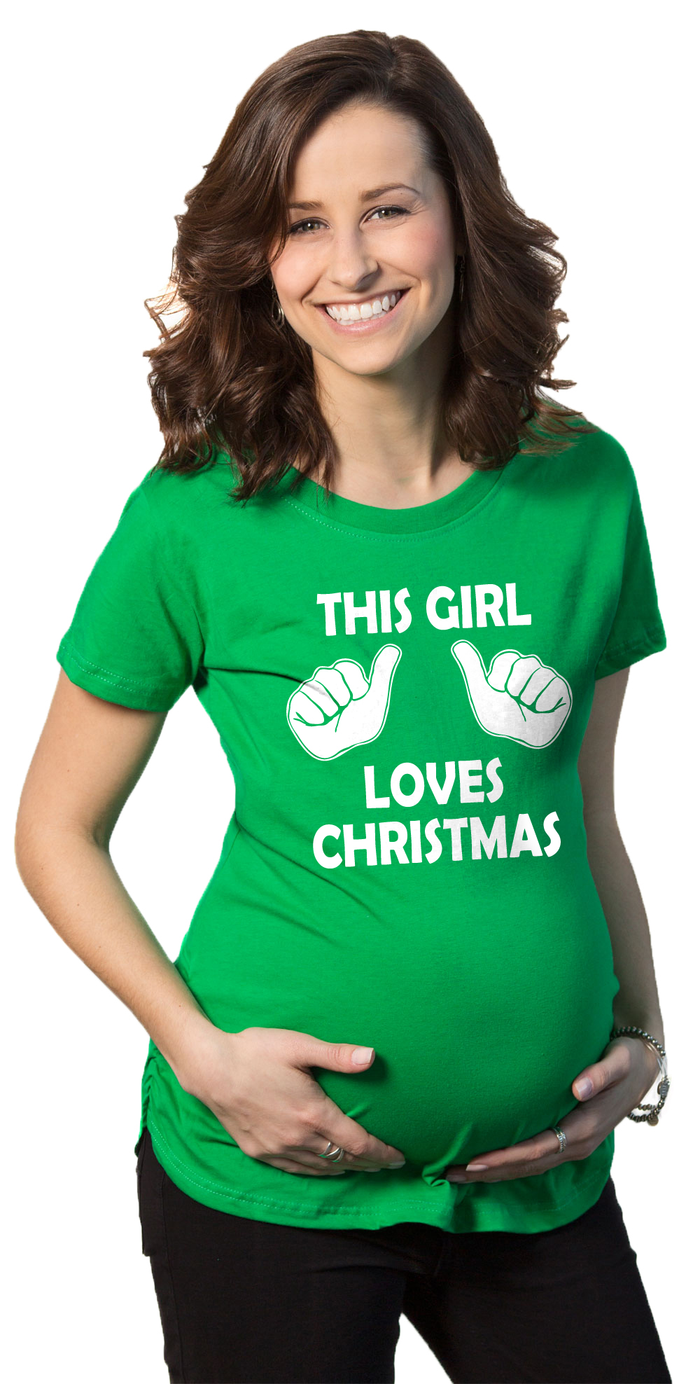 Crazy Dog TShirts - Maternity This Girl Loves Christmas Funny Holiday Pregnancy T Shirt for Women