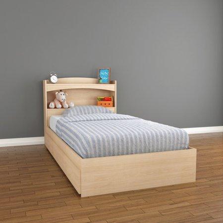 Twin Maple Headboard - Nexera Alegria Storage Bed and Bookcase Headboard, Maple