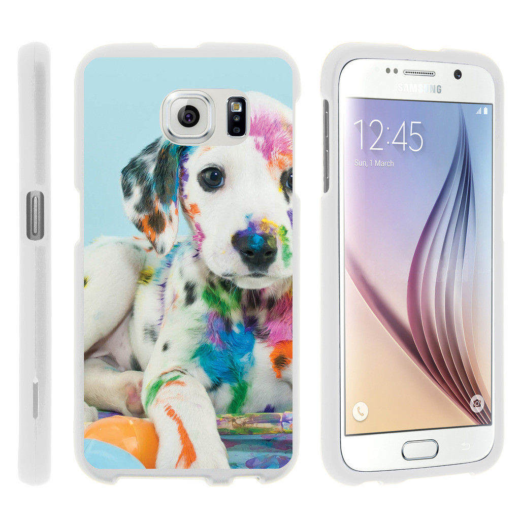 Samsung Galaxy S6 Edge G925, [SNAP SHELL][White] Hard White Plastic Case with Non Slip Matte Coating with Custom Designs - Colorful Puppy