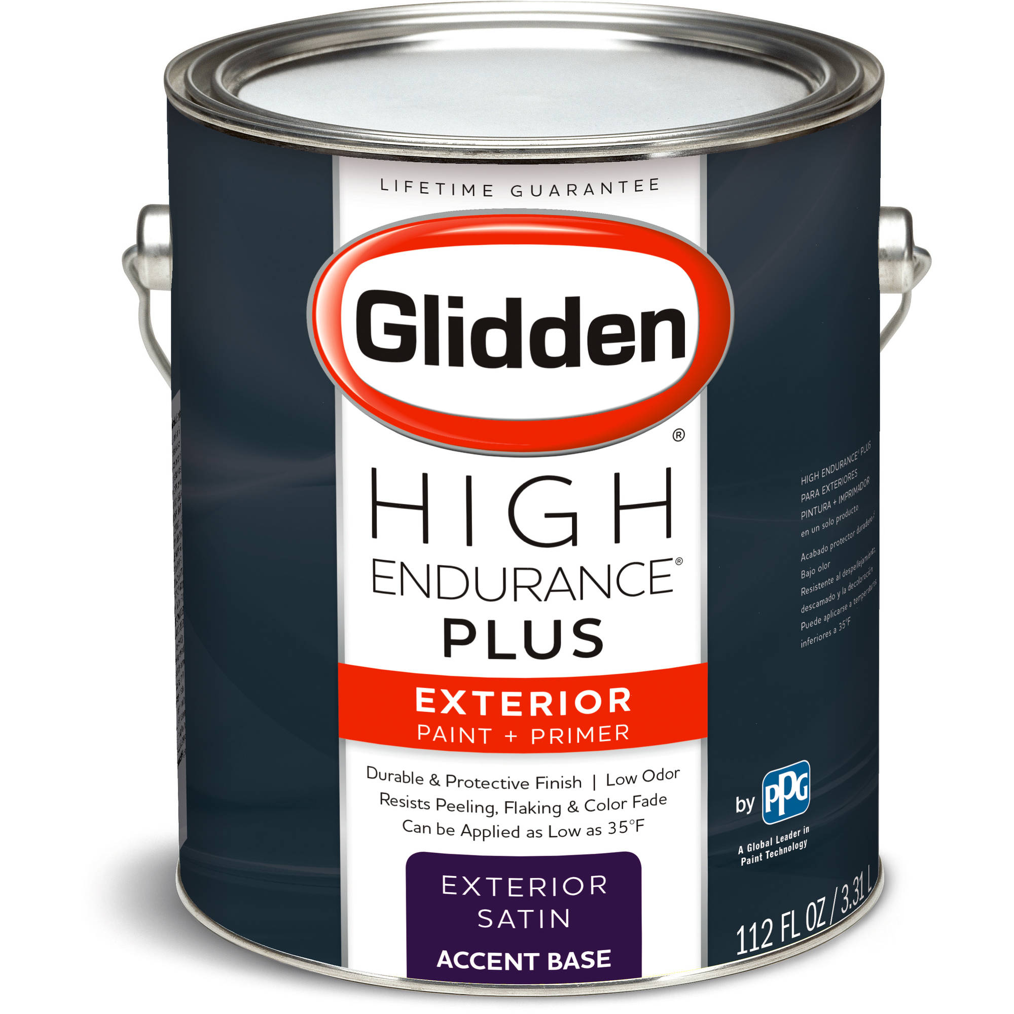 Glidden High Endurance Plus, Exterior Paint and Primer, Satin Finish, Accent Base, 1 Gallon
