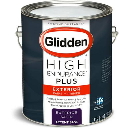 Glidden High Endurance Plus, Exterior Paint and Primer, Satin Finish, Accent Base, 1 Gallon