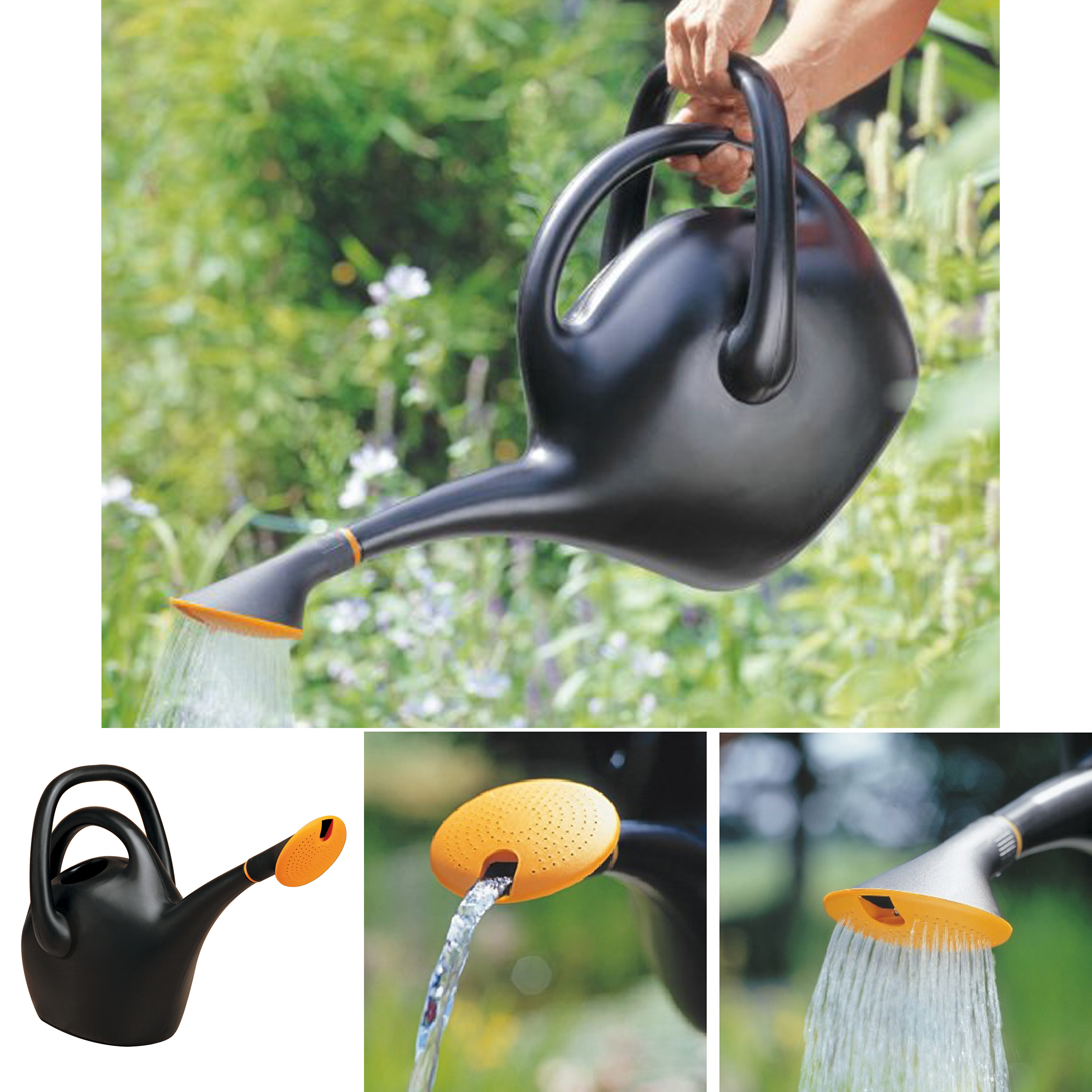 Bloem Easy Pour Watering Can 2.6 Gallon Black