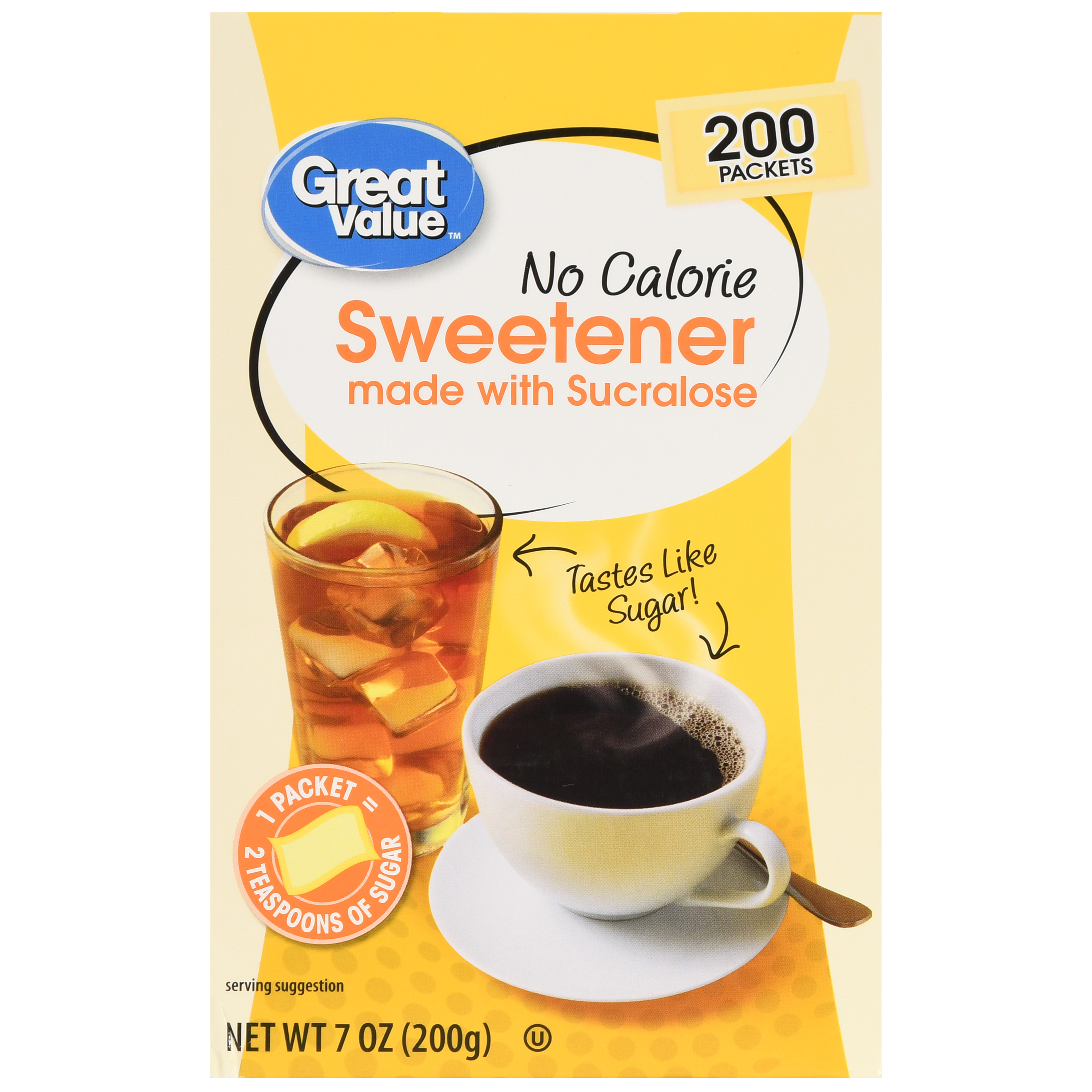 Great Value Sweetener with Sucralose Packets, No Calorie, 7 oz, 200 Count