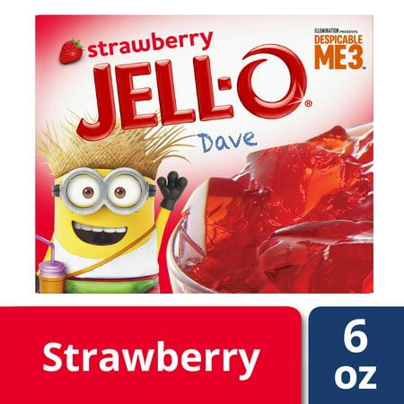 (3 Pack) Jell-O Strawberry Gelatin Dessert, 6 oz Box