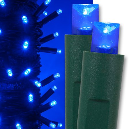 Kringle Traditions 5mm LED Blue Christmas Lights, Commercial Balled Sets; 50 Lights, Green Wire (Outdoor Green Led Lights)