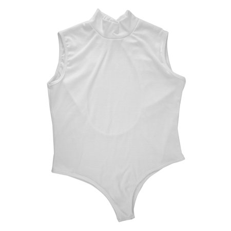 - 100% Brand New Women Slim Backless Sleeveless Ladies Stretch Turtleneck Bodysuit Plain Tops With Black