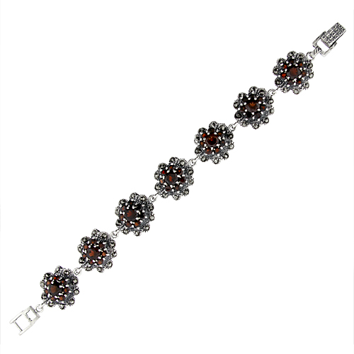 Sterling Silver Cubic Zirconia Garnet Cluster Floral Marcasite Bracelet 3 4 inch wide, 7 inch long by WorldJewels