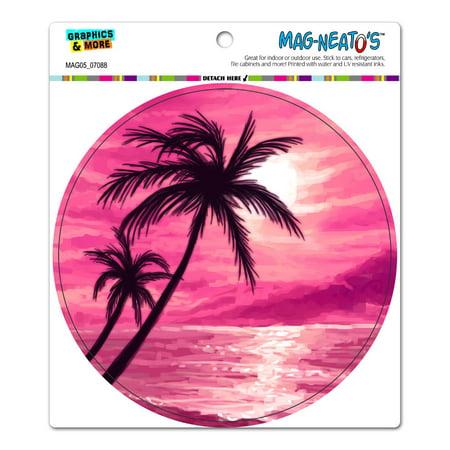 Sunset Beach Palm Tree - Hawaii Paradise Pink Circle MAG-NEATO'S(TM) Car/Refrigerator Magnet