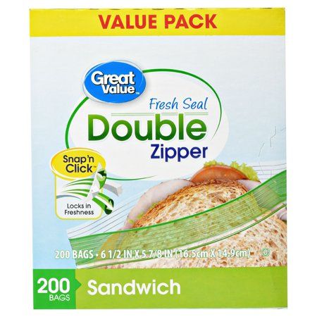 Custom Plastic Bags - (2 pack) Great Value Double Zipper Sandwich Bags, 200 Count
