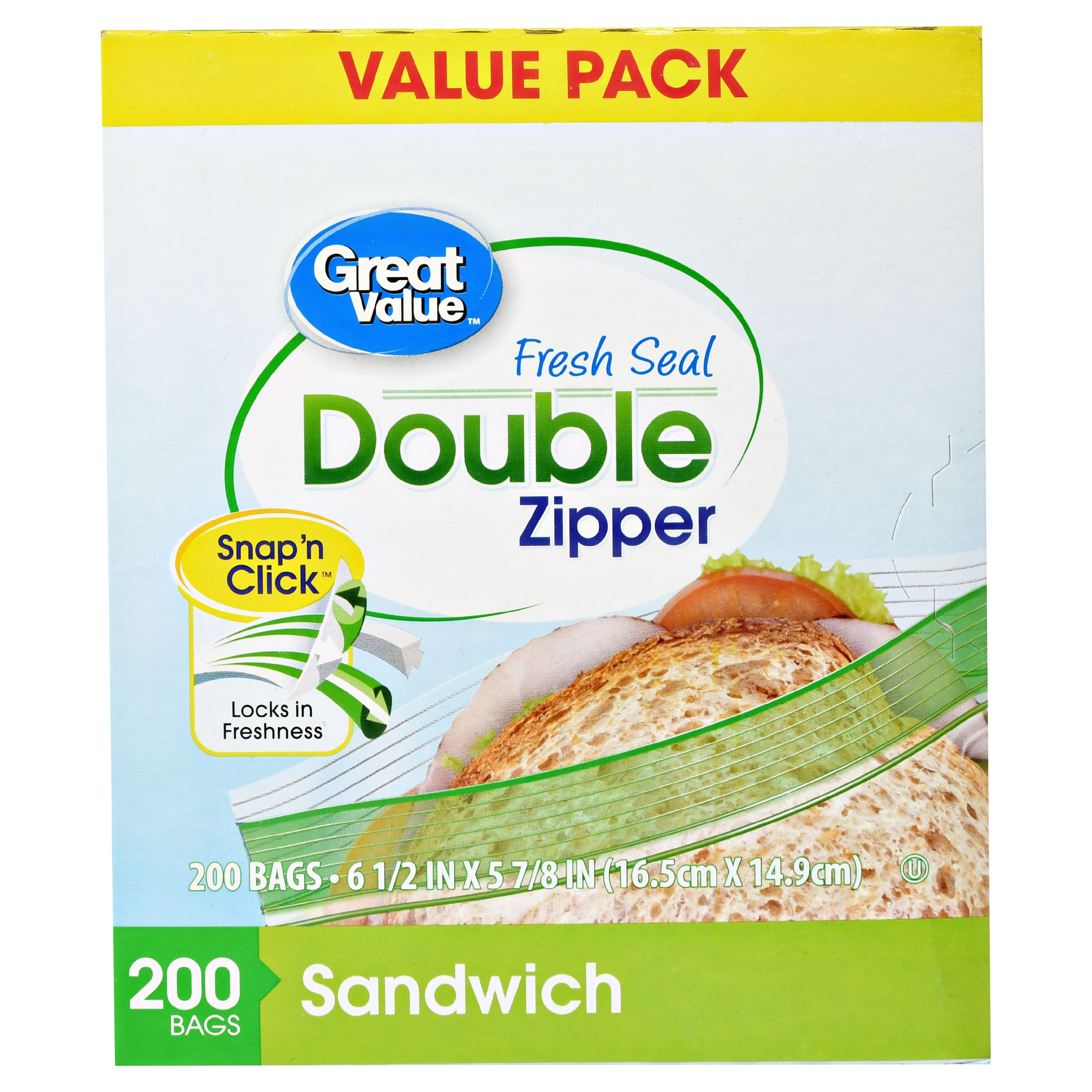 Great Value Double Zipper Freezer Food Storage Bags, Sandwich, 200 Count