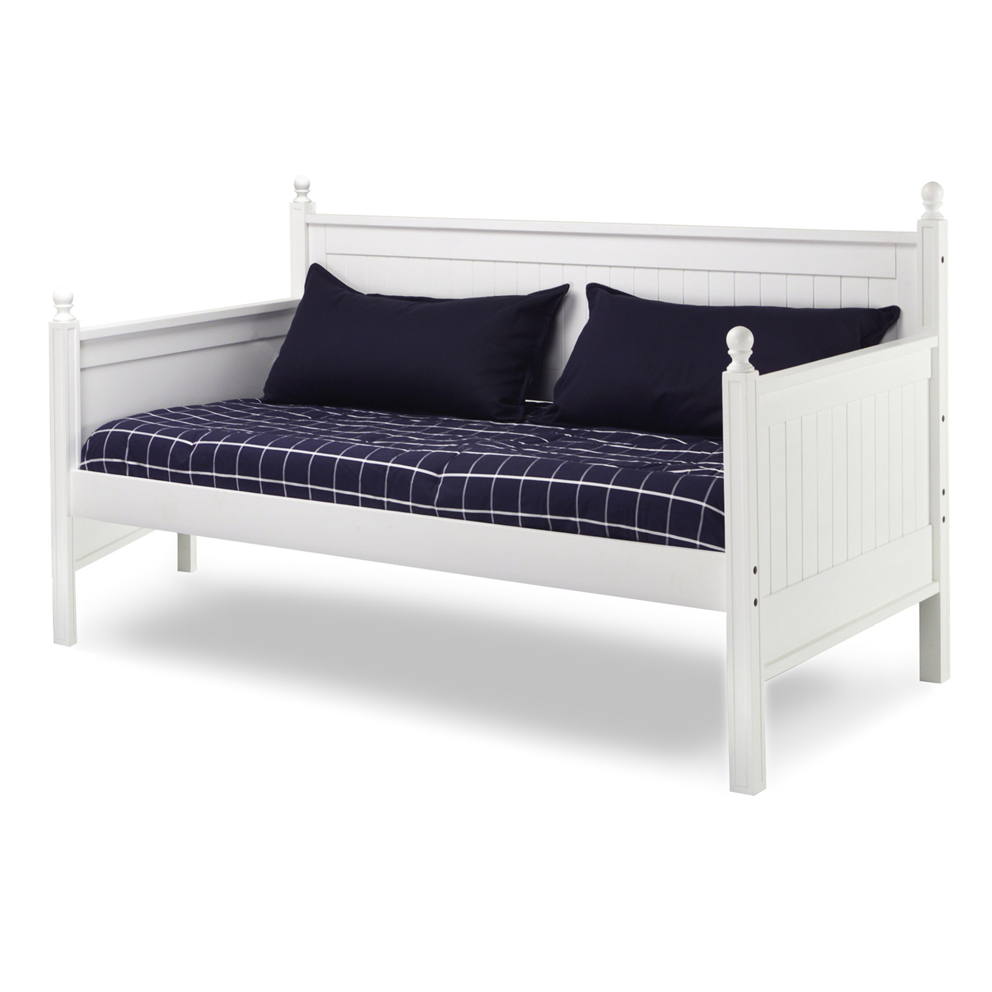 Casey Complete Wood Daybed with Ball Finials, White Finish, Twin
