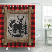 ATABIE Cool Deer on Red Black Buffalo Check Plaid Vintage Shower Curtain 66x72 inch