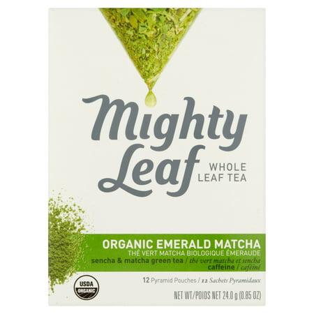 Mighty Leaf Whole Emerald Matcha organique feuilles de thé 12 Pyramid Pouches, 0,85 oz Pack 6